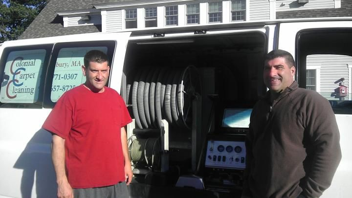 Charlie and Paul Spinos with the high powered truck mounted carpet cleaning system